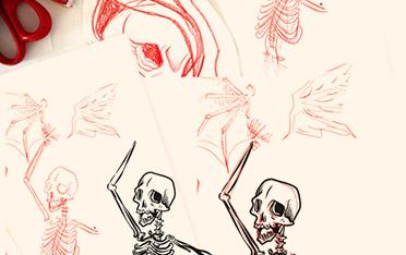 collaboration leonard titus et black bones rouen planche de skate