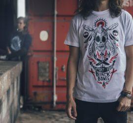 black bones t-shirt blanc homme barbier rouen