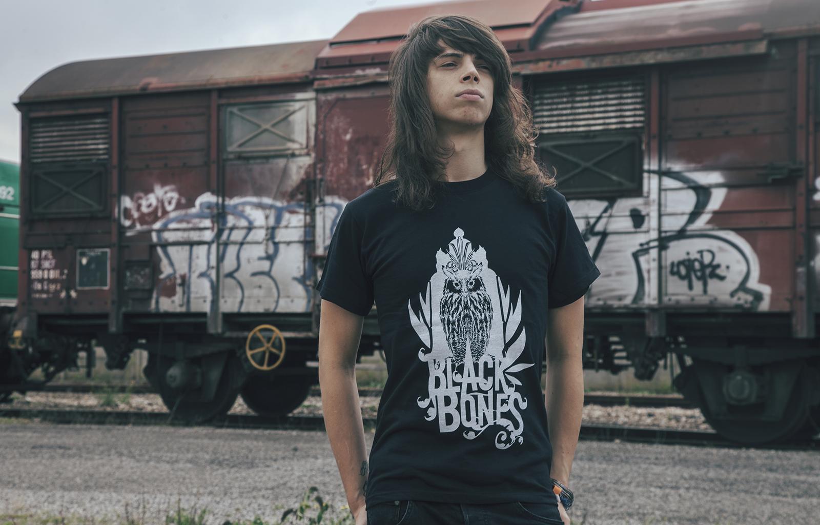 black bones t-shirt noir homme hiboux rouen