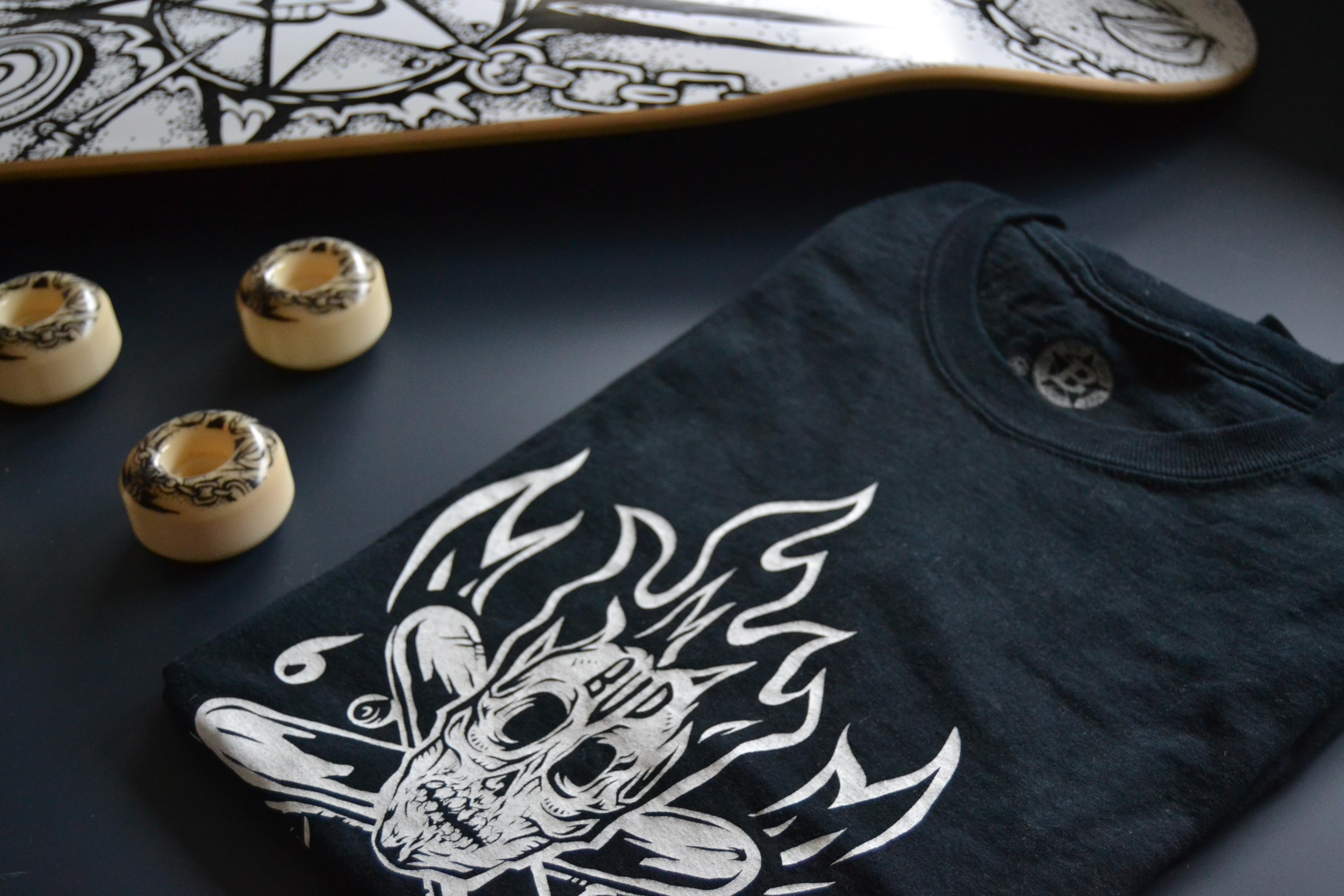 t-shirt par back bones pour bud skateshop