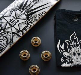 t-shirt par black bones et skateboard pour bud skateshop rouen