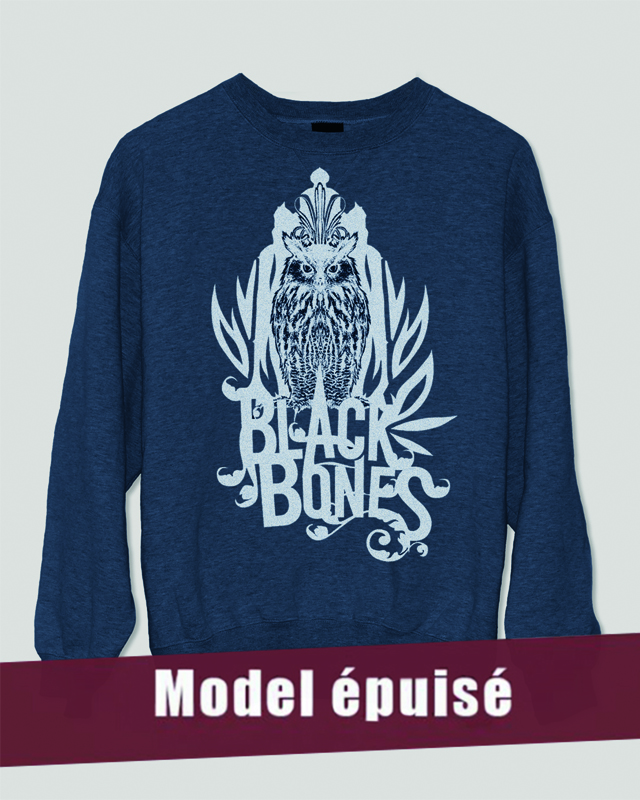 sweat bleu black bones owl